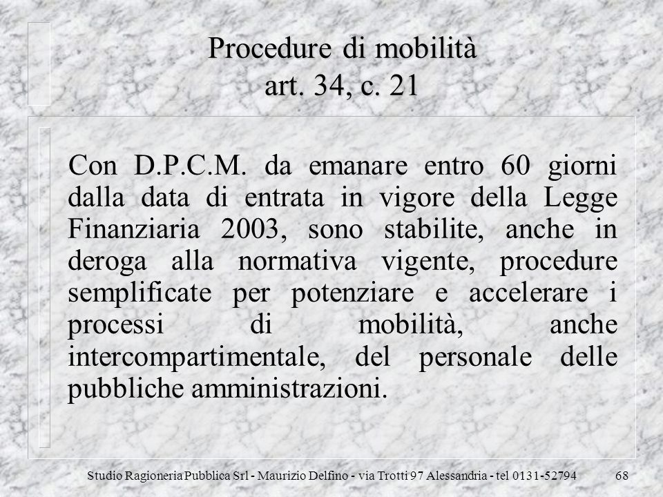 Procedure di mobilità art. 34, c. 21