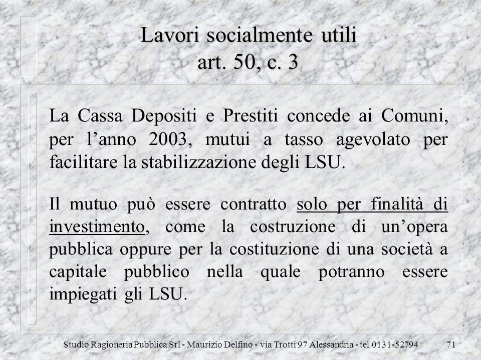 Lavori socialmente utili art. 50, c. 3