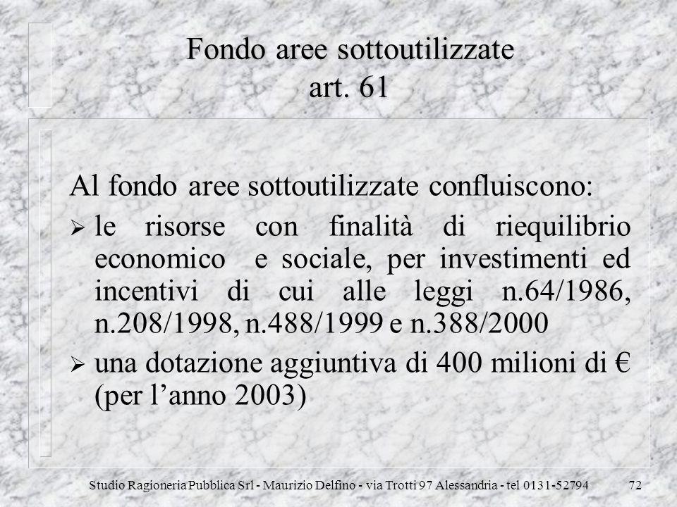 Fondo aree sottoutilizzate art. 61