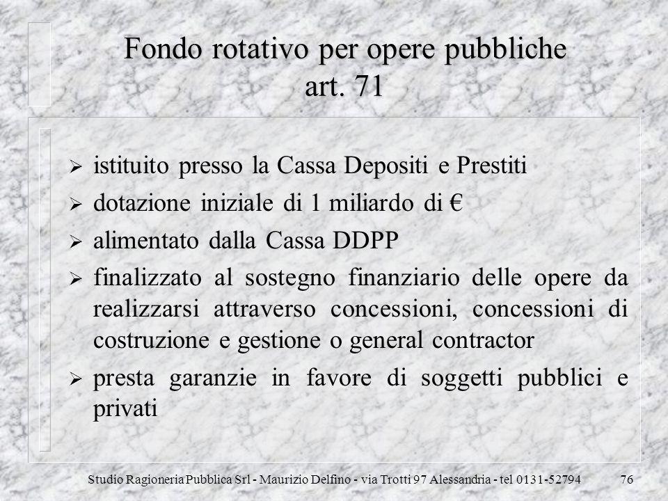 Fondo rotativo per opere pubbliche art. 71