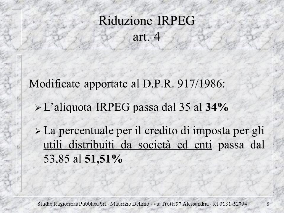 Riduzione IRPEG art. 4 Modificate apportate al D.P.R. 917/1986: