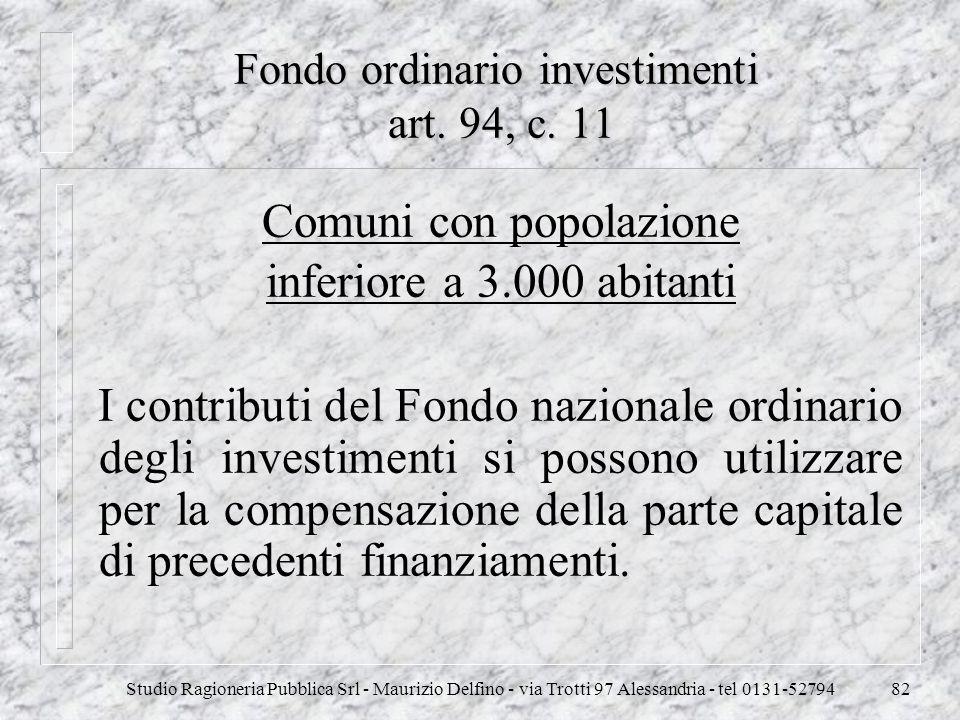 Fondo ordinario investimenti art. 94, c. 11