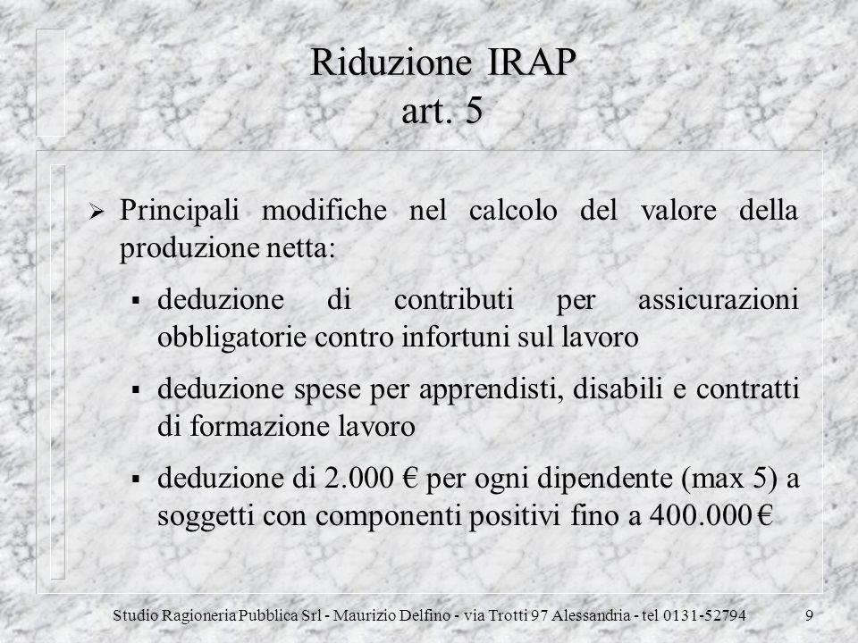Riduzione IRAP art. 5 Principali modifiche nel calcolo del valore della produzione netta: