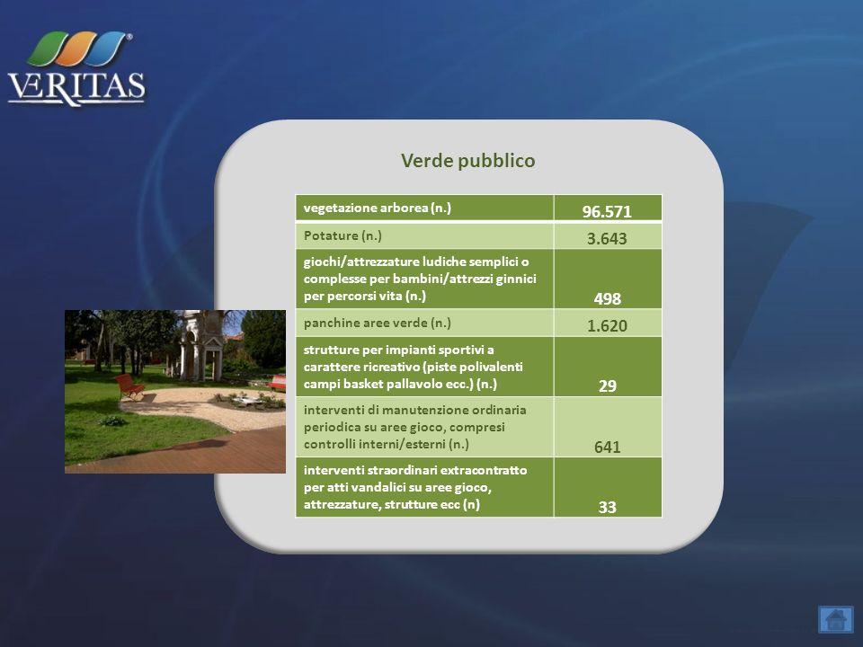 Verde pubblico vegetazione arborea (n.) 96.571. Potature (n.) 3.643.