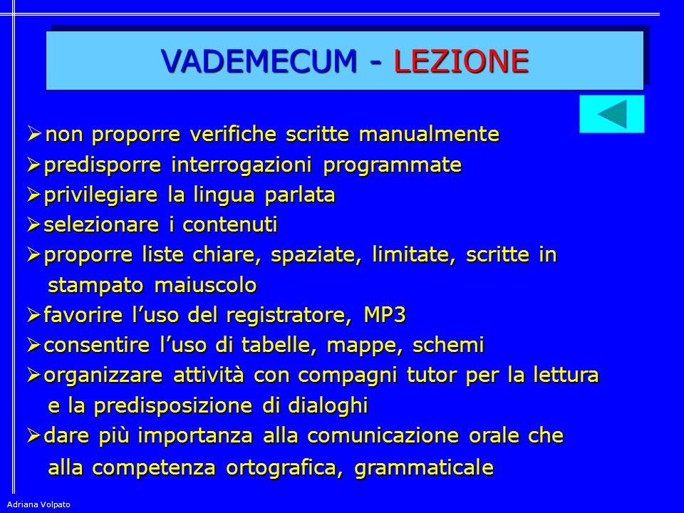 VADEMECUM - LEZIONE non proporre verifiche scritte manualmente