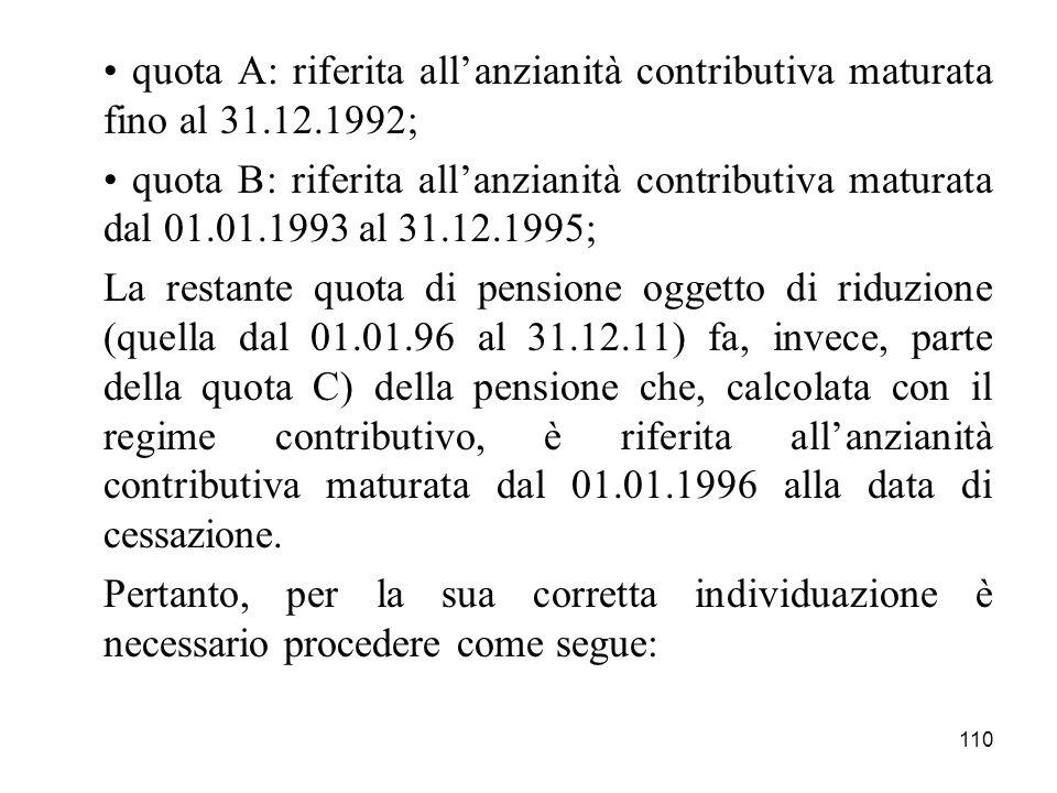 • quota A: riferita all'anzianità contributiva maturata fino al 31. 12