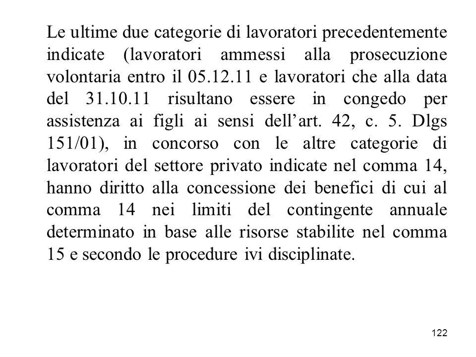 Le ultime due categorie di lavoratori precedentemente indicate (lavoratori ammessi alla prosecuzione volontaria entro il 05.12.11 e lavoratori che alla data del 31.10.11 risultano essere in congedo per assistenza ai figli ai sensi dell'art.
