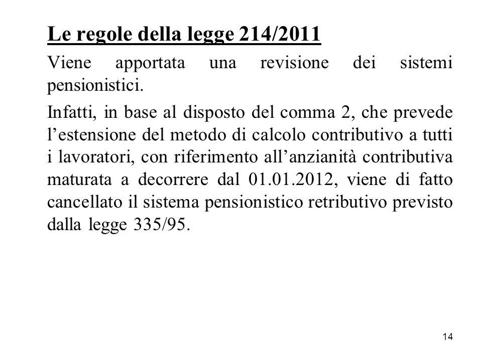Le regole della legge 214/2011 Viene apportata una revisione dei sistemi pensionistici.