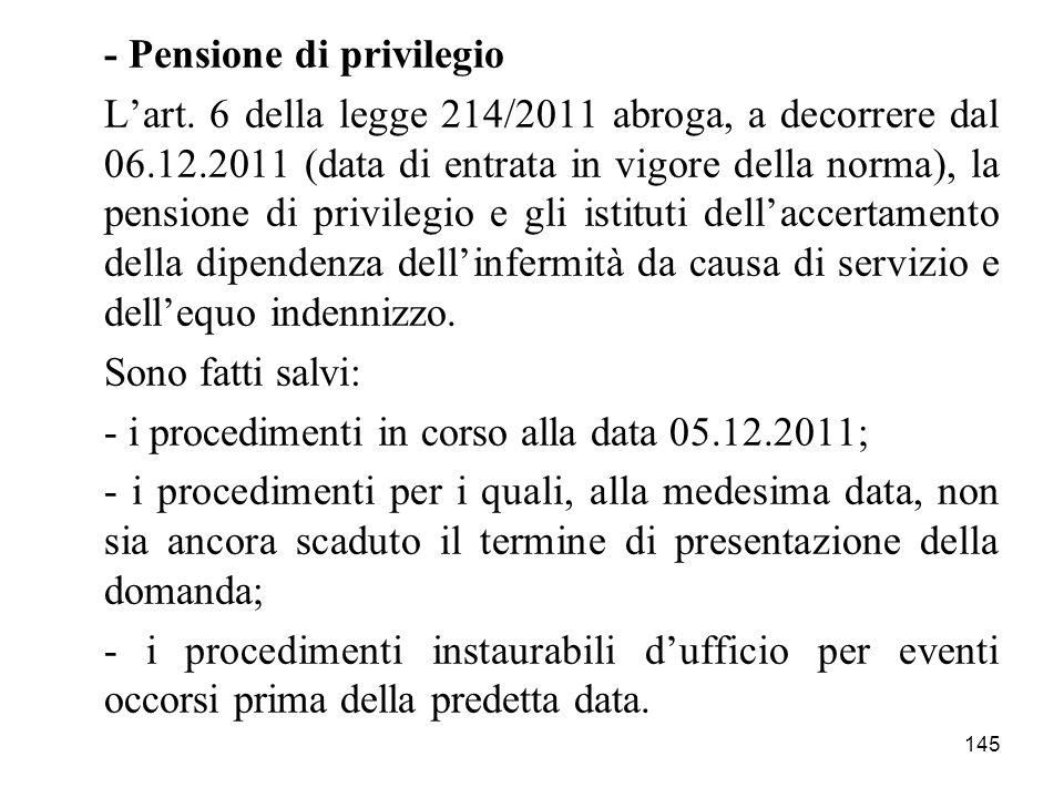- Pensione di privilegio