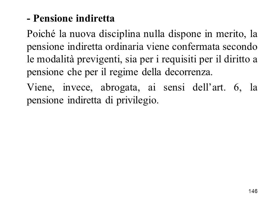 - Pensione indiretta