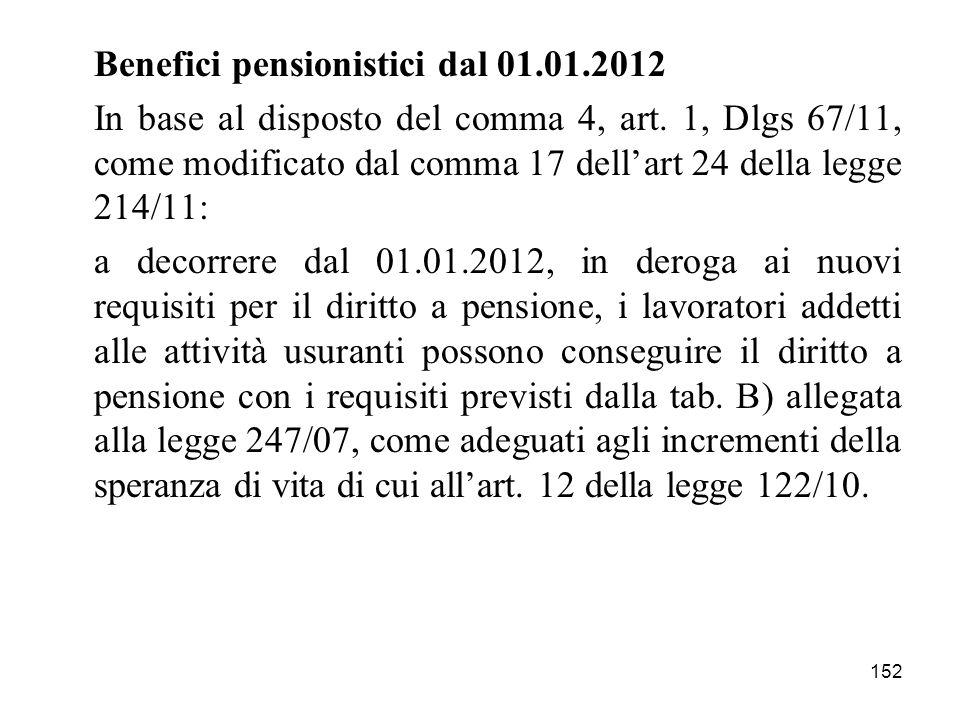 Benefici pensionistici dal 01.01.2012