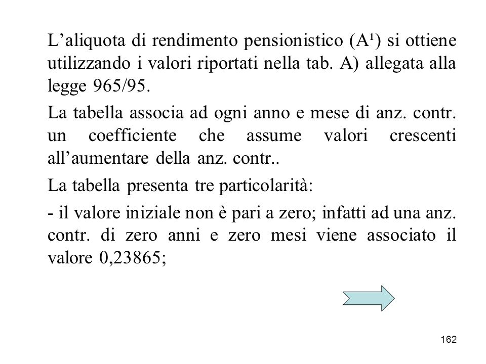 L'aliquota di rendimento pensionistico (A¹) si ottiene utilizzando i valori riportati nella tab. A) allegata alla legge 965/95.