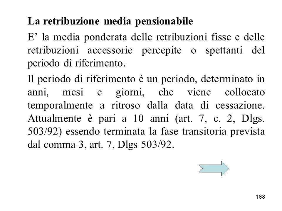 La retribuzione media pensionabile