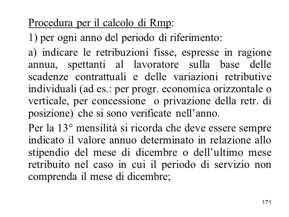 Procedura per il calcolo di Rmp: