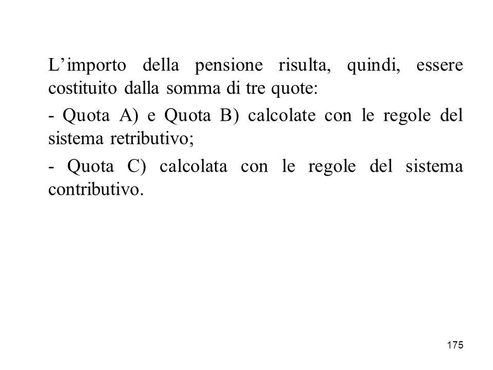 L'importo della pensione risulta, quindi, essere costituito dalla somma di tre quote: