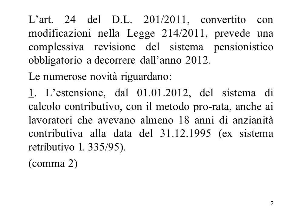 L'art. 24 del D.L. 201/2011, convertito con modificazioni nella Legge 214/2011, prevede una complessiva revisione del sistema pensionistico obbligatorio a decorrere dall'anno 2012.
