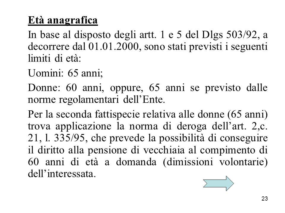 Età anagrafica In base al disposto degli artt. 1 e 5 del Dlgs 503/92, a decorrere dal 01.01.2000, sono stati previsti i seguenti limiti di età: