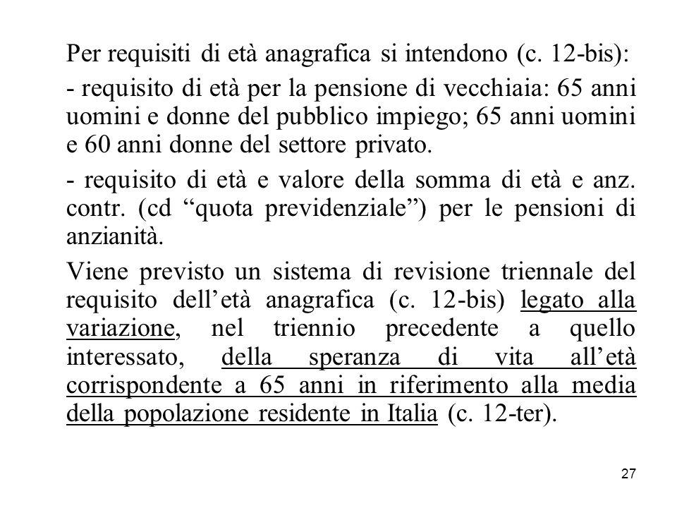 Per requisiti di età anagrafica si intendono (c. 12-bis):