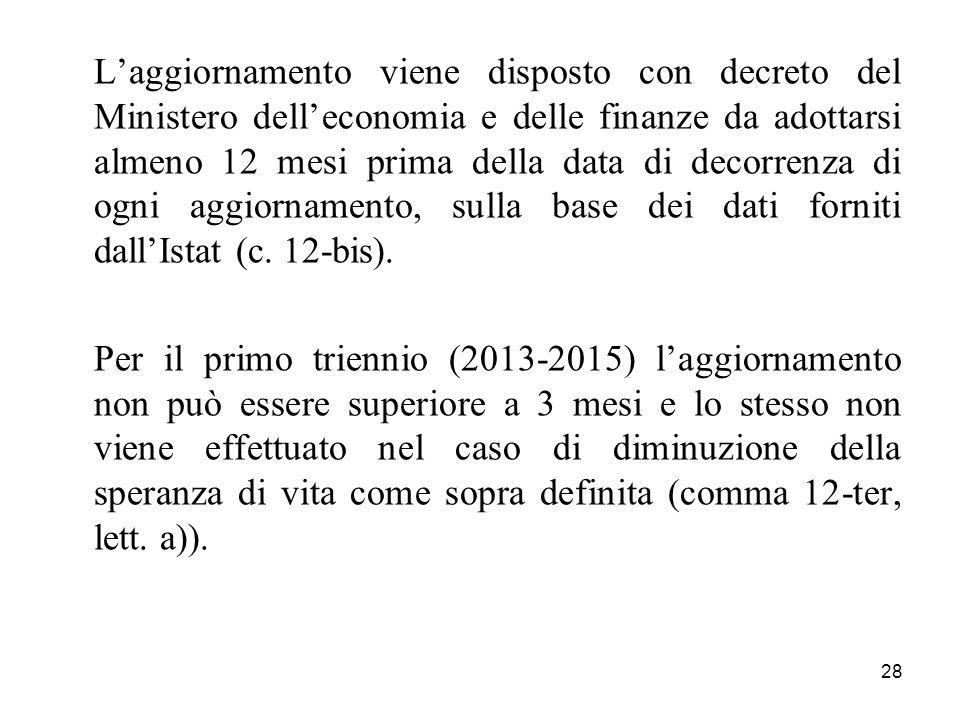 L'aggiornamento viene disposto con decreto del Ministero dell'economia e delle finanze da adottarsi almeno 12 mesi prima della data di decorrenza di ogni aggiornamento, sulla base dei dati forniti dall'Istat (c. 12-bis).