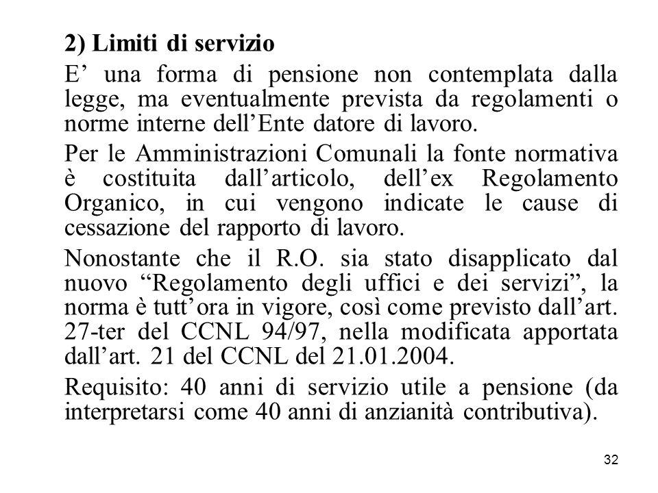 2) Limiti di servizio