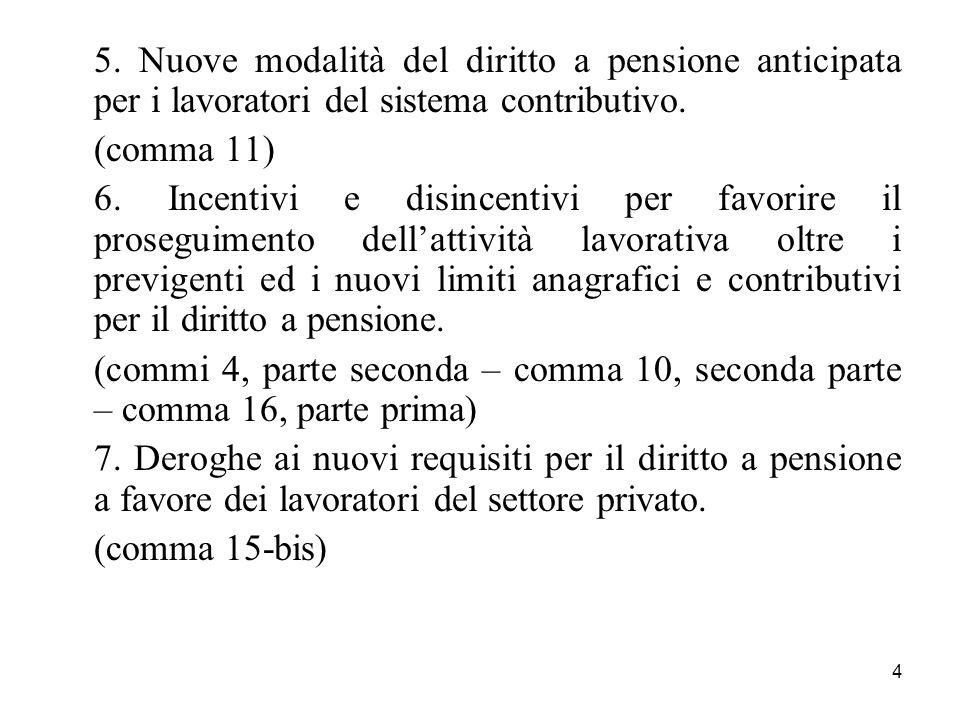 5. Nuove modalità del diritto a pensione anticipata per i lavoratori del sistema contributivo.