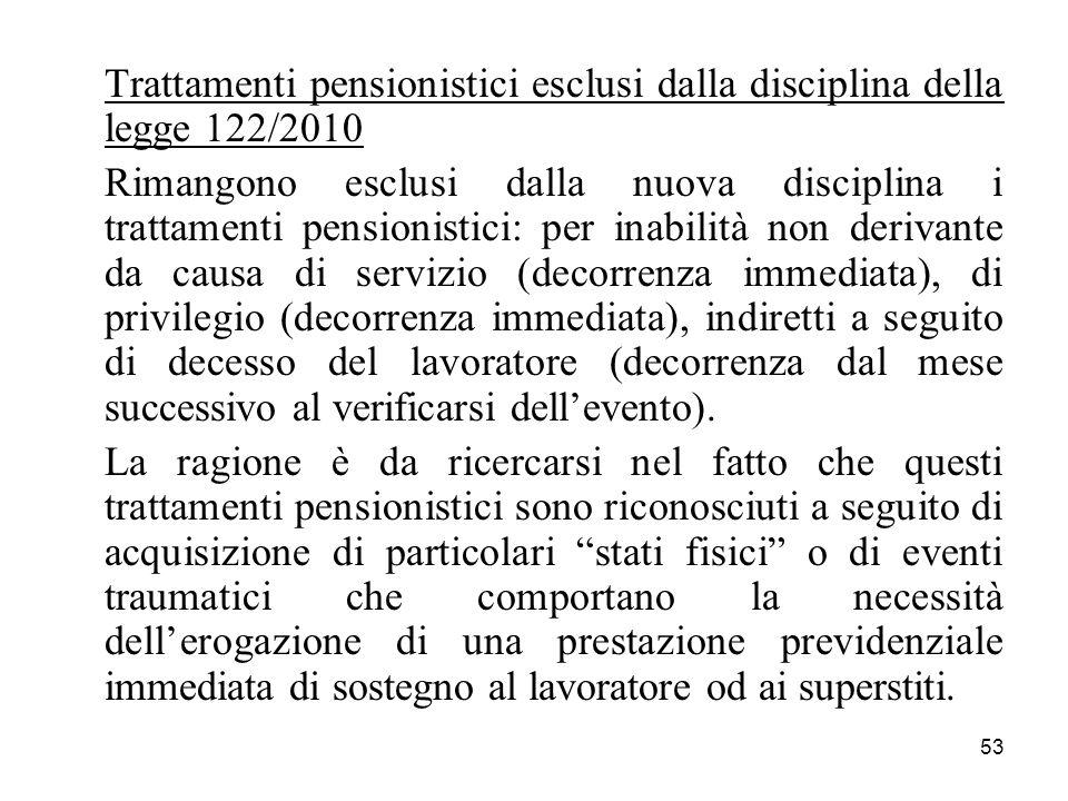 Trattamenti pensionistici esclusi dalla disciplina della legge 122/2010