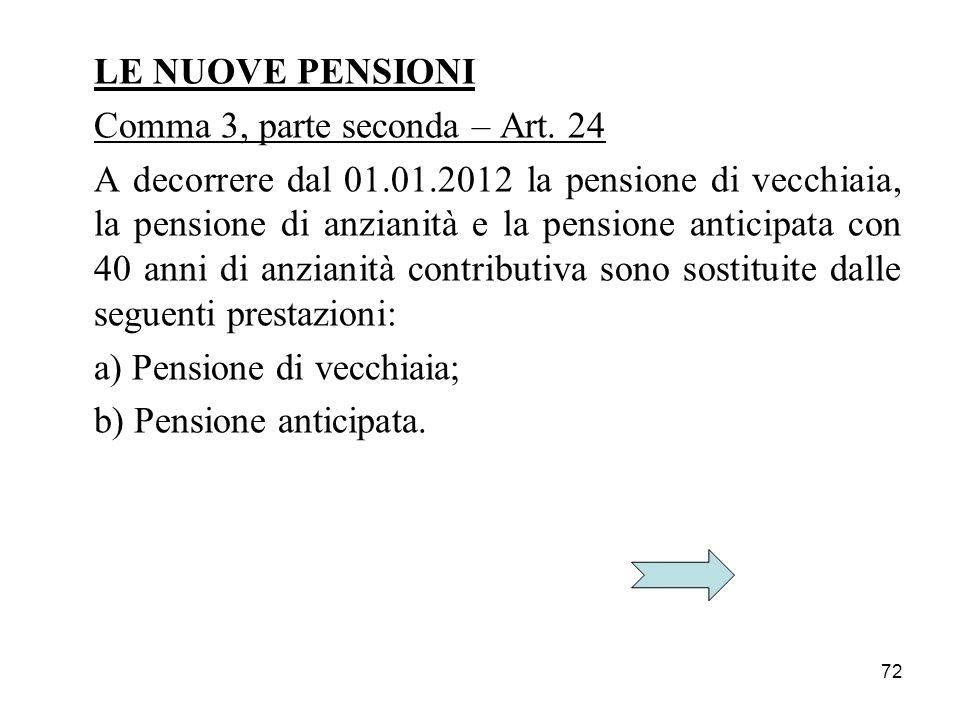 LE NUOVE PENSIONI Comma 3, parte seconda – Art. 24.