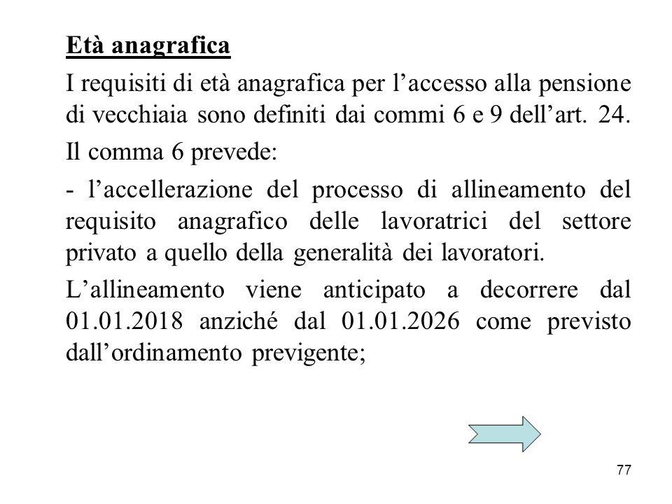 Età anagrafica I requisiti di età anagrafica per l'accesso alla pensione di vecchiaia sono definiti dai commi 6 e 9 dell'art. 24.