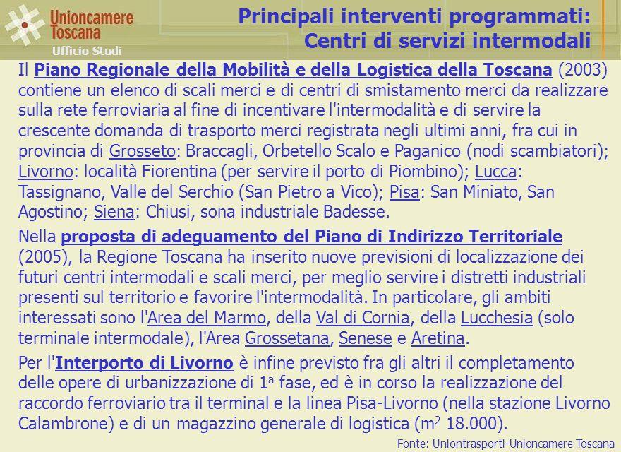 Principali interventi programmati: Centri di servizi intermodali