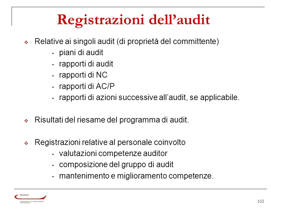 Registrazioni dell'audit