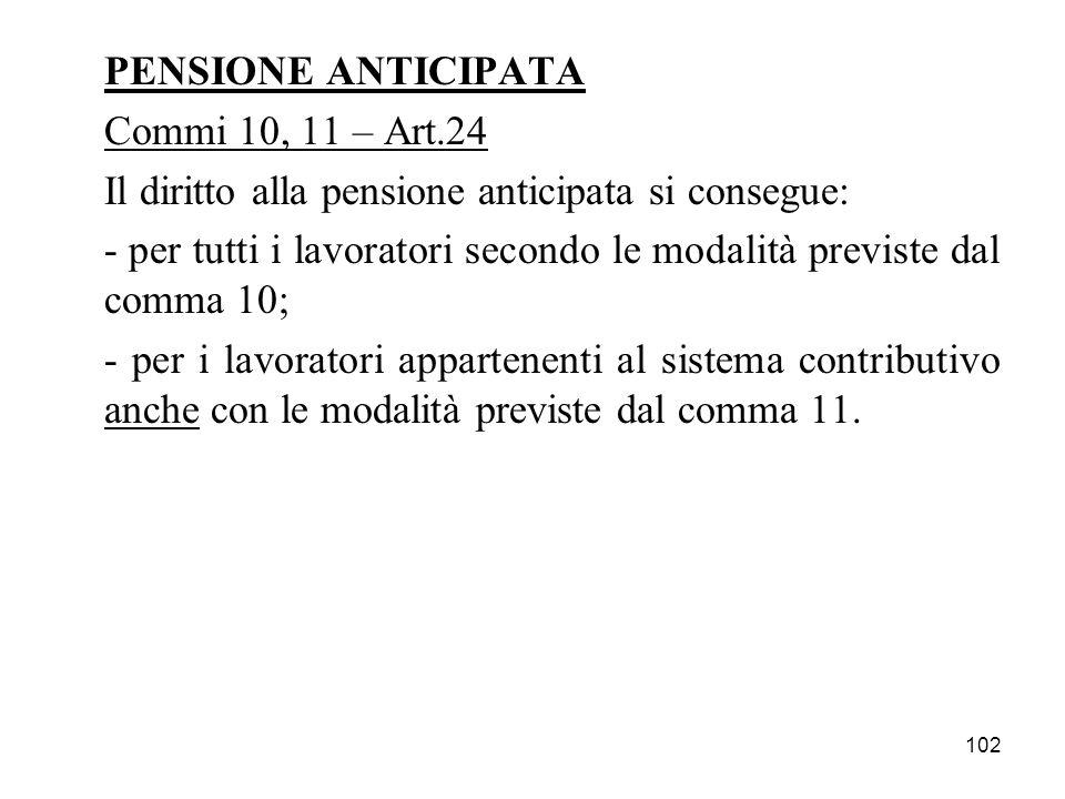 PENSIONE ANTICIPATA Commi 10, 11 – Art.24. Il diritto alla pensione anticipata si consegue: