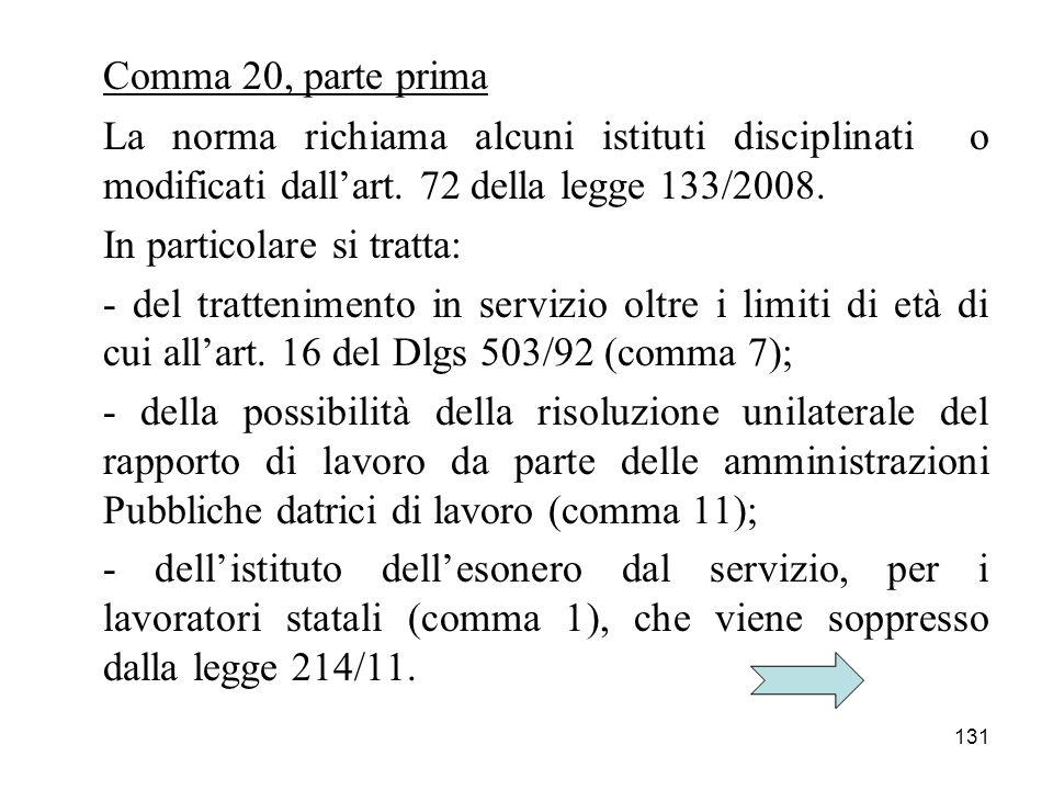 Comma 20, parte prima La norma richiama alcuni istituti disciplinati o modificati dall'art. 72 della legge 133/2008.