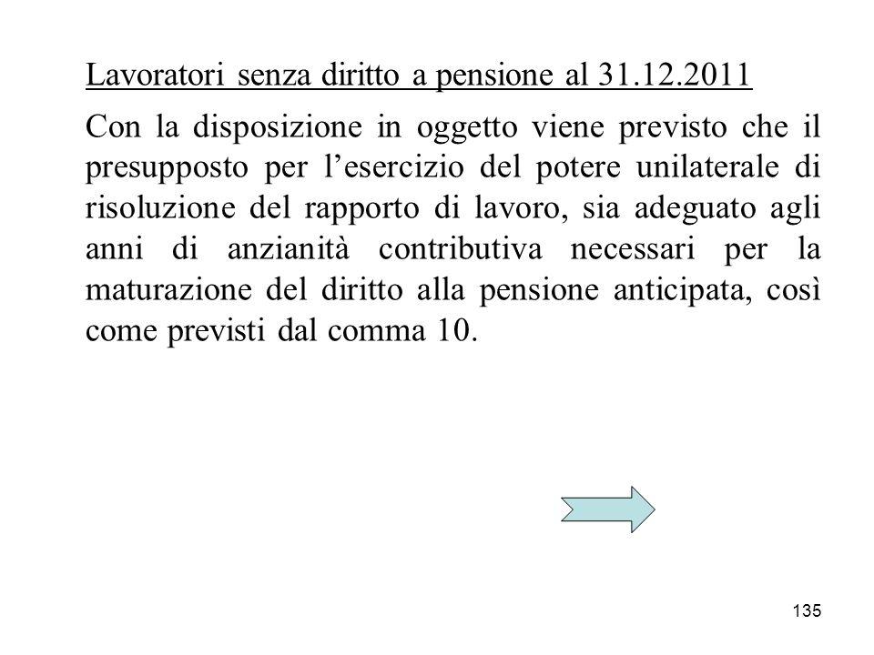 Lavoratori senza diritto a pensione al 31.12.2011
