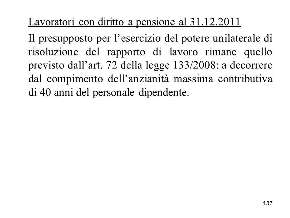 Lavoratori con diritto a pensione al 31.12.2011