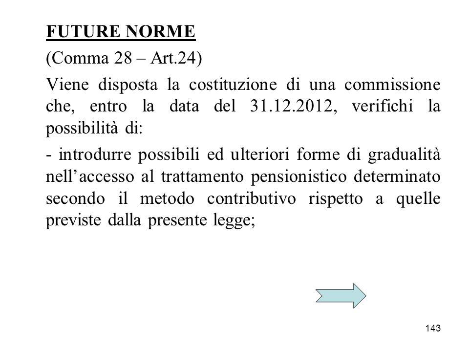 FUTURE NORME (Comma 28 – Art.24) Viene disposta la costituzione di una commissione che, entro la data del 31.12.2012, verifichi la possibilità di: