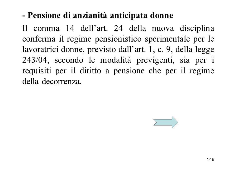 - Pensione di anzianità anticipata donne