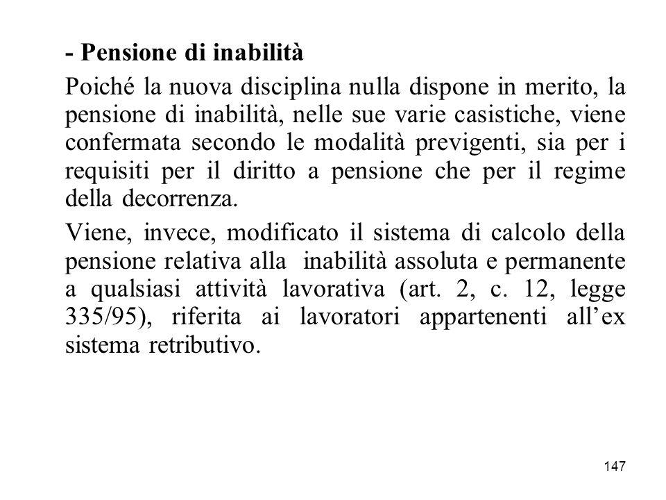 - Pensione di inabilità