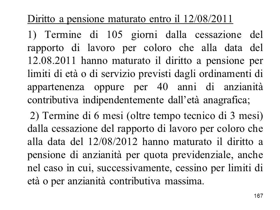 Diritto a pensione maturato entro il 12/08/2011