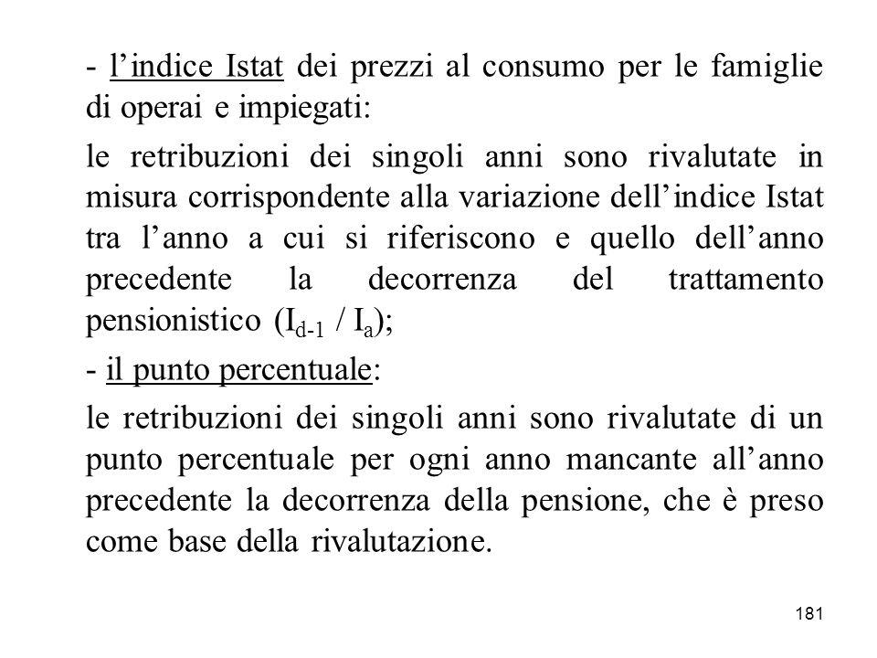 - l'indice Istat dei prezzi al consumo per le famiglie di operai e impiegati: