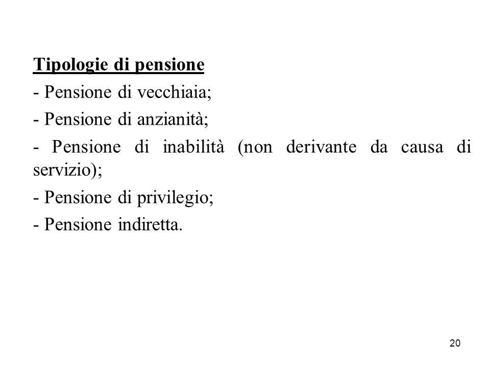 Tipologie di pensione - Pensione di vecchiaia; - Pensione di anzianità; - Pensione di inabilità (non derivante da causa di servizio);