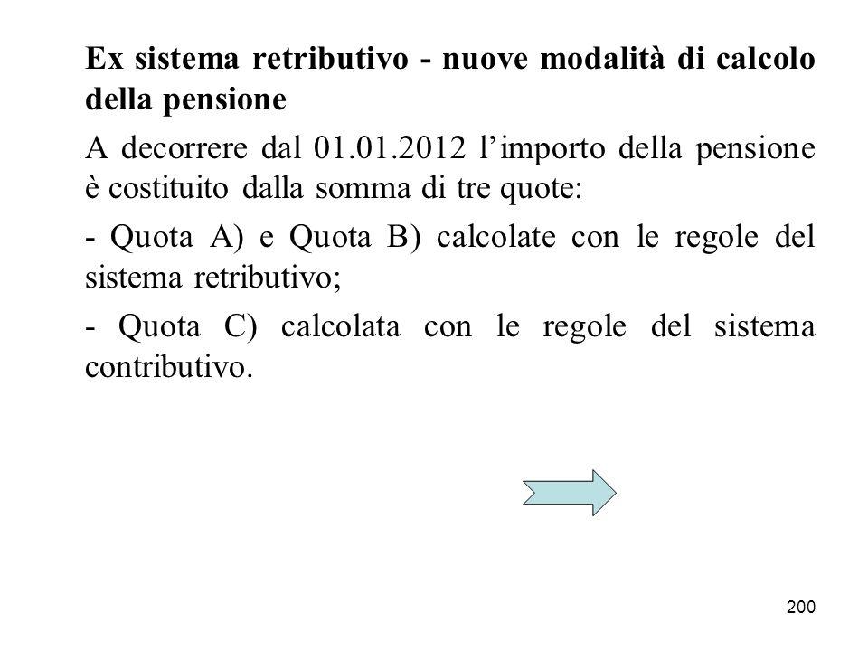 Ex sistema retributivo - nuove modalità di calcolo della pensione