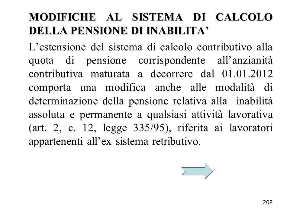 MODIFICHE AL SISTEMA DI CALCOLO DELLA PENSIONE DI INABILITA'