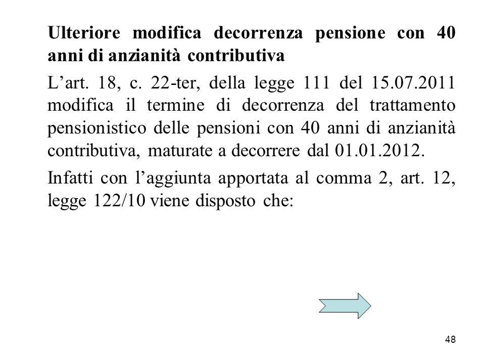 Ulteriore modifica decorrenza pensione con 40 anni di anzianità contributiva