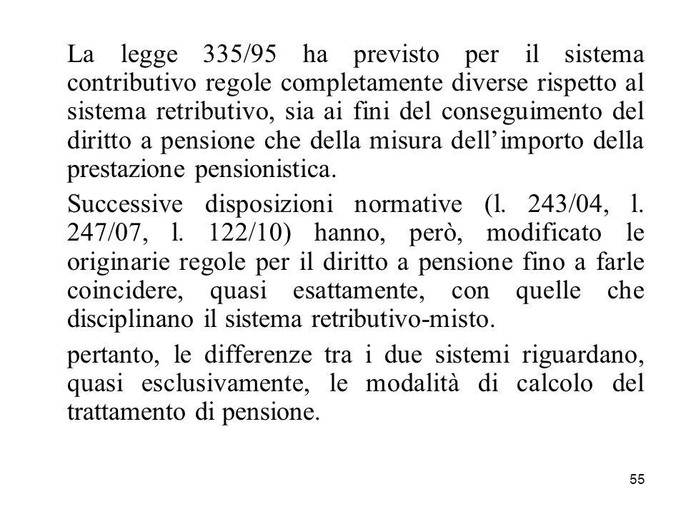 La legge 335/95 ha previsto per il sistema contributivo regole completamente diverse rispetto al sistema retributivo, sia ai fini del conseguimento del diritto a pensione che della misura dell'importo della prestazione pensionistica.