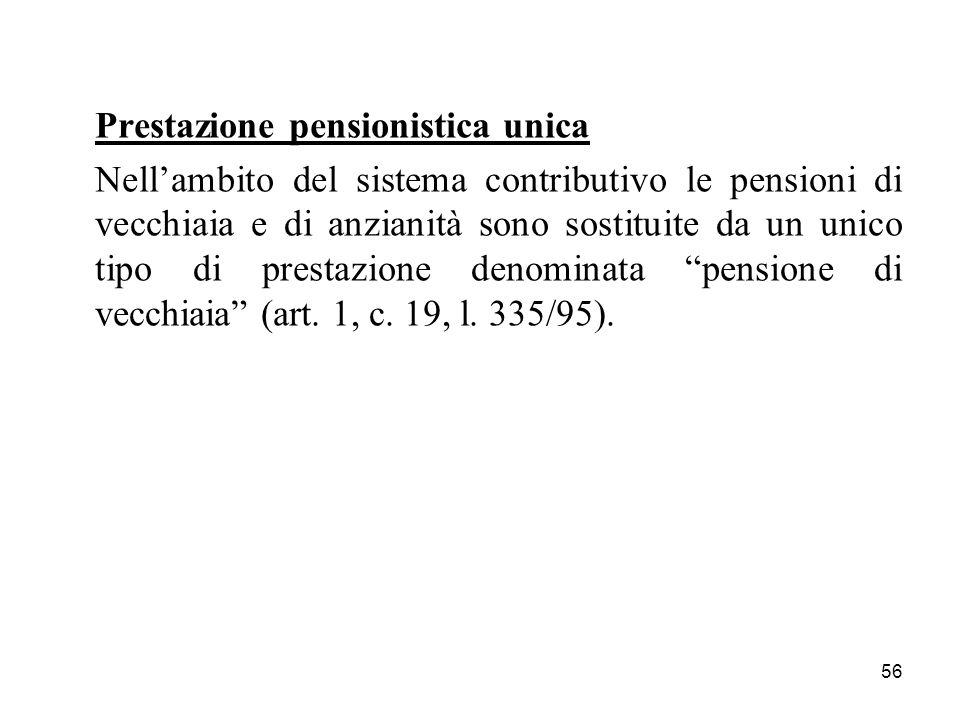 Prestazione pensionistica unica