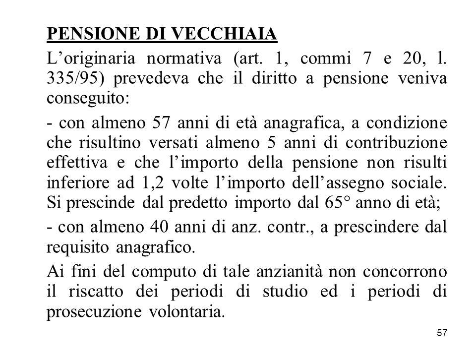 PENSIONE DI VECCHIAIA L'originaria normativa (art. 1, commi 7 e 20, l. 335/95) prevedeva che il diritto a pensione veniva conseguito: