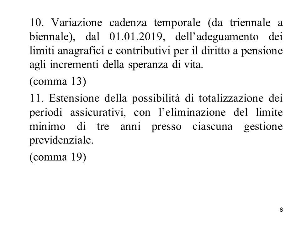 10. Variazione cadenza temporale (da triennale a biennale), dal 01. 01
