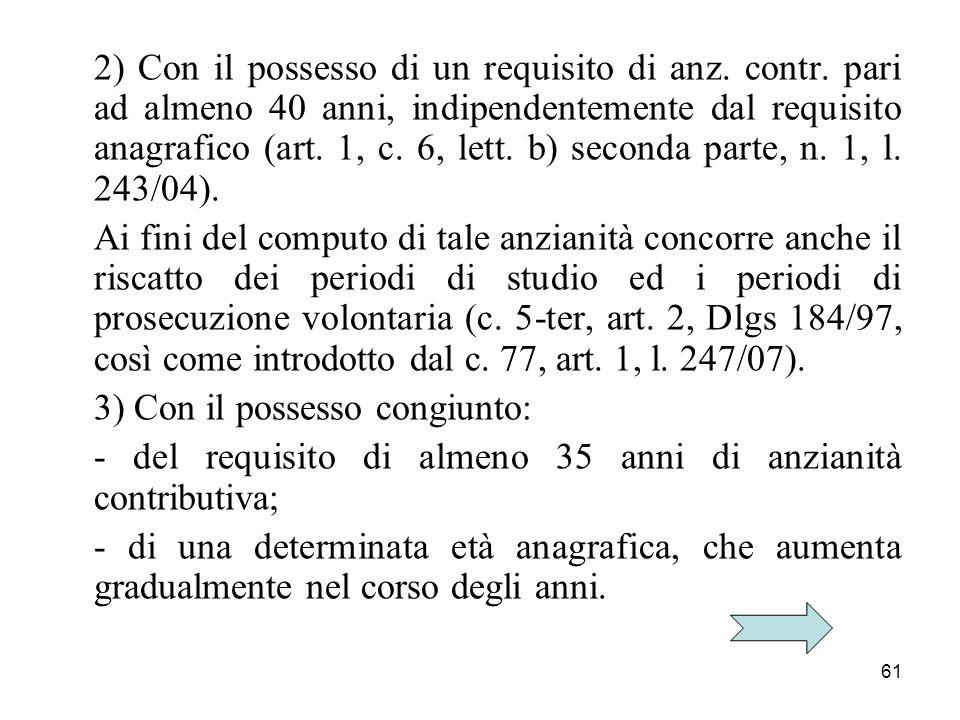 2) Con il possesso di un requisito di anz. contr
