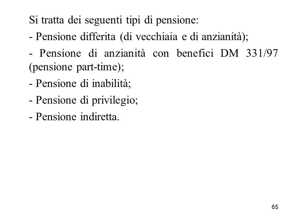 Si tratta dei seguenti tipi di pensione: