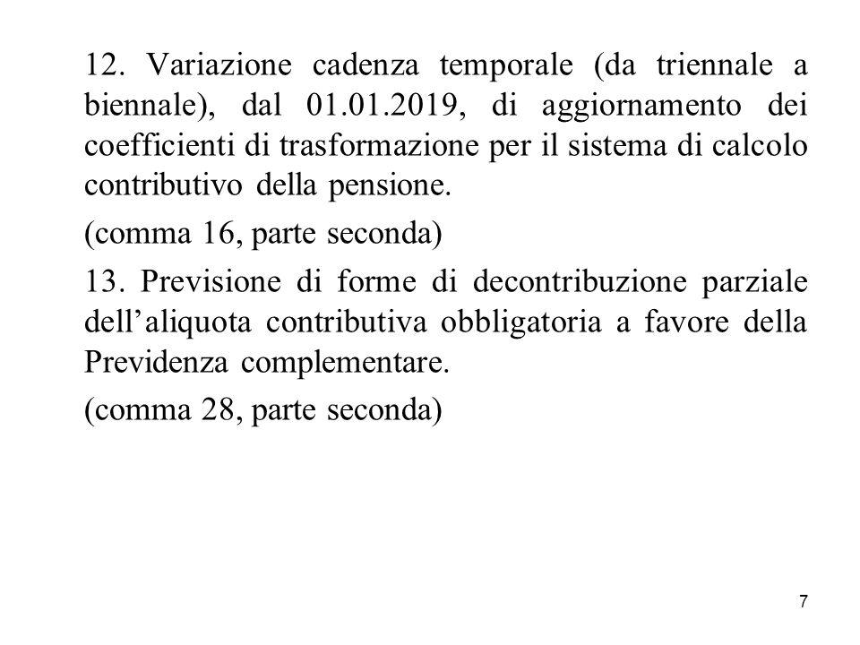 12. Variazione cadenza temporale (da triennale a biennale), dal 01. 01